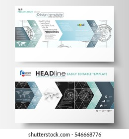 Business templates in HD format for presentation slides. Easy editable layouts. High tech design, connecting system. Science and technology concept. Futuristic abstract vector background.