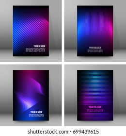 Business templates for multipurpose presentation. Easy editable vector EPS 10 layout. Set of 4 design brochure A4 format advertising, Northern Lights neon effect on purple background event party flyer