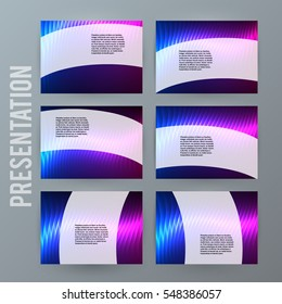 Business templates for multipurpose presentation slides. Easy editable vector layout. Set of 6 design brochure flyer marketing and advertising, Annual report mockup EPS 10. Northern Lights neon effect