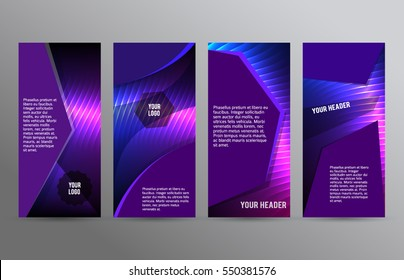 Business templates for multipurpose presentation slides. Easy editable vector EPS 10 layout. Set of 4 design brochure advertising, Northern Lights neon effect on purple background event party flyer
