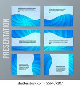 Business templates for multipurpose presentation slides. Easy editable vector EPS 10 layout. Set of 6 design brochure ad, glow light effect on blue background powerpoint flyer. Annual report mockup