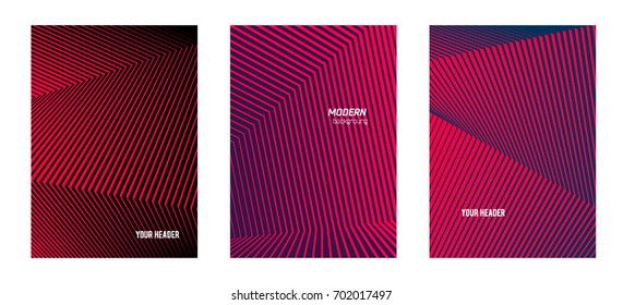 Business templates for multipurpose presentation slides. Easy editable vector EPS 10 layouts. Set of 3 vertical brochure flyer A4 format Annual report mockup graphic colors red, pink, purple