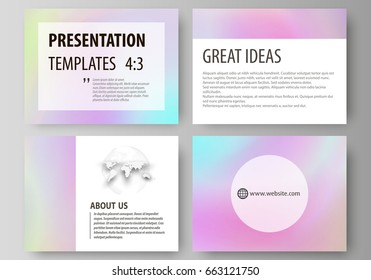 Business templates for presentation slides. Abstract vector layouts in flat design. Hologram, background in pastel colors with holographic effect. Blurred colorful pattern, futuristic surreal texture.