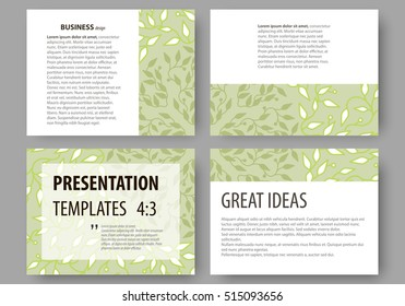 Business templates, presentation slides. Easy editable layouts, flat design. Green color background with leaves. Spa concept in linear style. Vector decoration for cosmetics, beauty industry