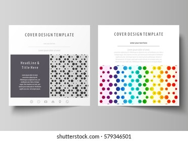 Business templates for square brochure, flyer. Leaflet cover, abstract vector layout. Chemistry pattern, hexagonal design molecule structure, medical DNA research. Geometric colorful background