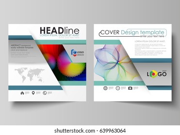 Business templates for square brochure, flyer, booklet, annual report. Leaflet cover, flat vector layout. Colorful design, overlapping geometric shapes and waves forming abstract beautiful background.