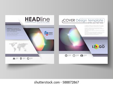 Business templates for square brochure, magazine, flyer, booklet or annual report. Leaflet cover, abstract vector layout. Retro style, mystical Sci-Fi background. Futuristic trendy design.