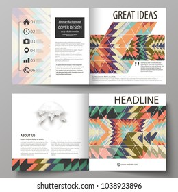 Business templates for square design bi fold brochure, magazine, flyer, booklet. Leaflet cover, abstract vector layout. Tribal pattern, geometrical ornament in ethno style, vintage fashion background.