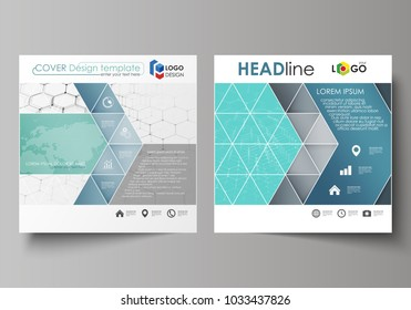 Business templates for square design brochure, flyer, report. Leaflet cover, abstract vector layout. Chemistry pattern, hexagonal molecule structure on blue. Medicine, science, technology concept.