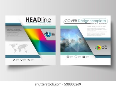 Business templates for square design brochure, magazine, flyer, booklet or annual report. Leaflet cover, flat layout. Abstract triangles, blue triangular background, colorful polygonal vector.