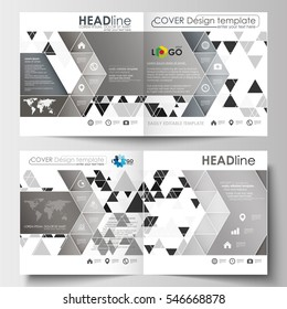 Business templates for square design brochure, magazine, flyer, booklet or annual report. Leaflet cover, flat layout. Abstract triangle background, modern gray color polygonal vector.