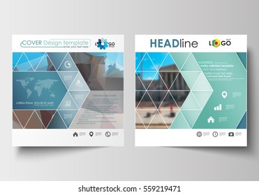 Business templates for square design brochure, magazine, flyer, booklet or report. Leaflet cover, flat layout, easy editable. Abstract background, blurred image, urban landscape, modern stylish vector
