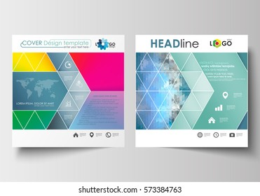Business templates for square design brochure, magazine, flyer, booklet. Leaflet cover, flat layout, easy editable blank. Abstract triangles, blue triangular background, colorful polygonal vector