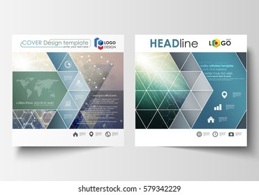 Business templates for square design brochure, magazine, flyer, booklet, report. Leaflet cover, vector layout. Chemistry pattern, hexagonal molecule structure. Medicine, science, technology concept.