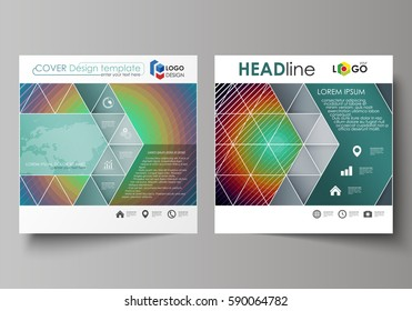 Business templates for square design brochure, magazine, flyer. Leaflet cover, vector layout. Minimalistic design with circles, diagonal lines. Geometric shapes forming beautiful retro background