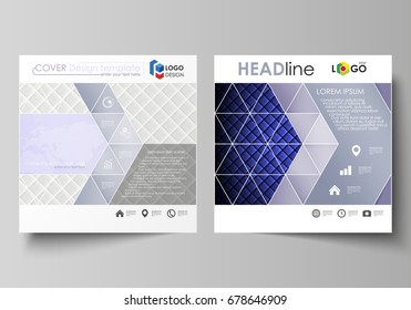 Business templates for square design brochure, magazine, flyer, booklet, annual report. Leaflet cover, vector layout. Shiny fabric, rippled texture, white and blue color silk, vintage style background