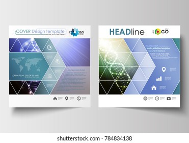 Business templates for square design brochure, magazine, flyer, booklet. Leaflet cover, abstract flat layout. DNA molecule structure, science background. Scientific research, medical technology.