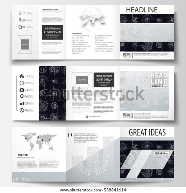 Business Templates Square Tri Fold Brochures Stock Vector
