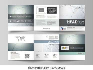 Business templates for tri fold square design brochures. Leaflet cover, vector layout. Genetic and chemical compounds. Atom, DNA and neurons. Medicine, chemistry, science concept. Geometric background