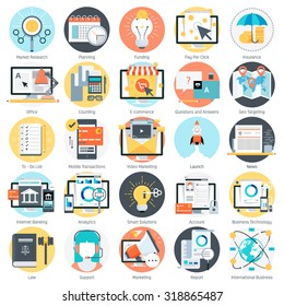 Business theme, flat style, colorful, vector icon set for info graphics, websites, mobile and print media.