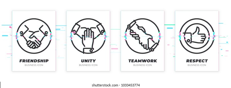 Business theme glitched black icons set. Scalable vector objects on transparent background. Modern distorted glitch style. handshake, teawork, assistance, like vector illustration. Vector icon.