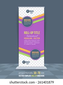 Business Theme Roll-Up Banner Design, Advertising Vector Template