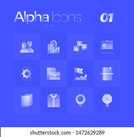 Business theme spot illustrations for branding, web design, presentation, logo, banners. Clean gradient icons set with thin lines and flat shapes. Pure transparency effect on blue color background.