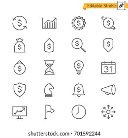 Business thin icons. Editable stroke. Pixel perfect.