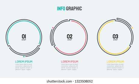 Business thin line element for infographics. Timeline with 3 steps, options, processes, circles. Vector template for presentation or annual report.