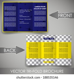 Business three fold flyer template, corporate brochure or cover design/can be use for publishing, print and working presentation, with place for your content.