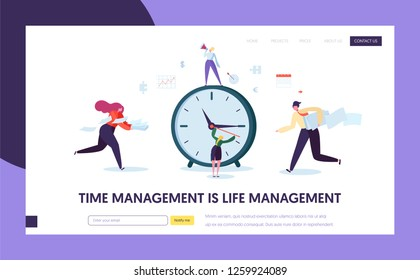 Business Time Management Concept Landing Page. Characters Organization Timetable Optimization Template for Website or Web Page. Effective Teamwork Schedule Tracking. Flat Cartoon Vector Illustration
