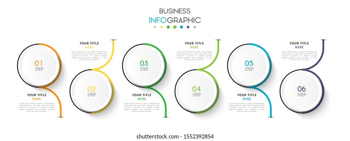 Business timeline infographic design element with steps, options, or numbers for workflow layout, annual, web design. Vector Illustration