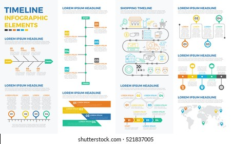 Business timeline infographic elements with illustrations and icons for data report  and information presentation
