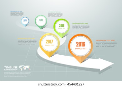 Business timeline infographic template can be used for workflow layout, diagram, number options,