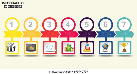 Business Timeline infographics design template with 3-10 options, process diagram, vector eps10 illustration