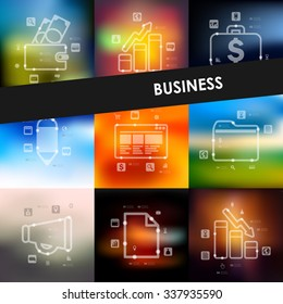 business timeline presentations with blurred unfocused background