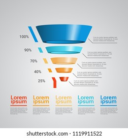 business timeline process chart infographics funnel template used for presentation and workflow layout diagram, web design. Infographic data graphic collection copy space vector illustration