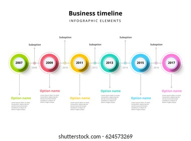 Business timeline in step circles infographics. Corporate milestones graphic elements. Company presentation slide template with year periods. Modern vector history time line layout design.