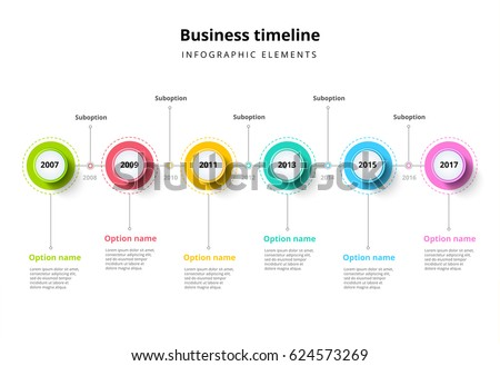 business timeline step circles infographics corporate のベクター