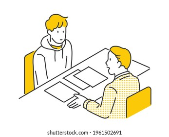 Business topics -meeting. Flat style modern outlined vector concept illustration. People sitting at the office desk discussing a project.