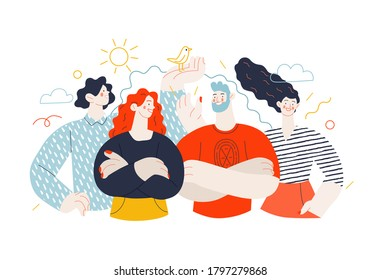 Business topics - our team, header. Flat style modern outlined vector concept illustration. Group of people, creaw, standing together. Business metaphor.