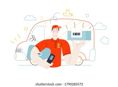 Business topics - shipping. Flat style modern outlined vector concept illustration. A young man, delivery guy, wearing a cap holding a parcel with barcode. Delivery truck behind. Business metaphor.