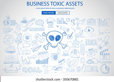 Business Toxic Assets concept with Doodle design style :risk purchases, assets exposure, money spending. Modern style illustration for web banners, brochure and flyers.