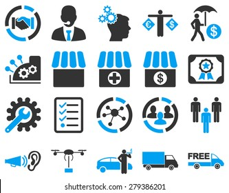 Business, trade, shipment icons. These flat bicolor symbols use modern corporate light blue and gray colors. Images are isolated on a white background. Angles are rounded.