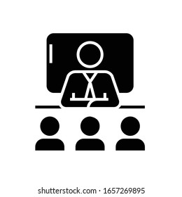 Business trainer black icon, concept illustration, vector flat symbol, glyph sign.