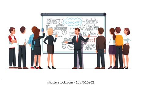 Business trainer teacher explaining product development process, marketing & strategy on big whiteboard pointing on hand drawn diagram. Student group listening coach workshop. Flat vector illustration