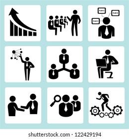 business training, company management icon set