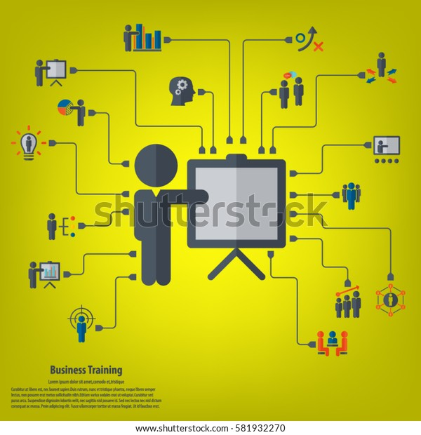Business training - conceptual background with strategy, business training, human resources related icon set.