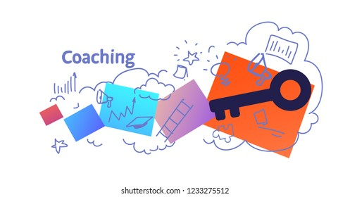 business training corporate coaching concept sketch doodle horizontal isolated flat vector illustration