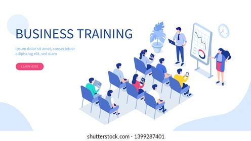 \nBusiness training or courses concept. Can use for web banner, infographics, hero images. Flat isometric vector illustration isolated on white background.